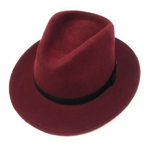 Wine Fedora Hat With Black Velvet Band
